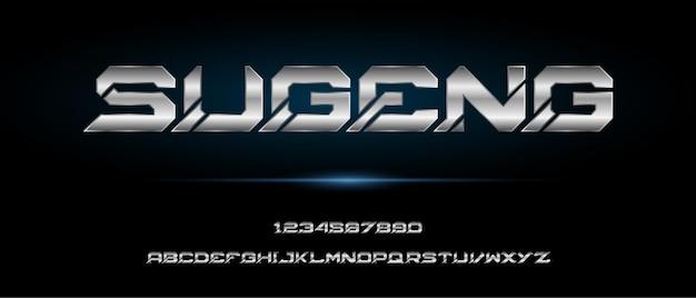 Sugeng, sportowy cyfrowy nowoczesny futurystyczny alfabet z szablonem miejskiego stylu