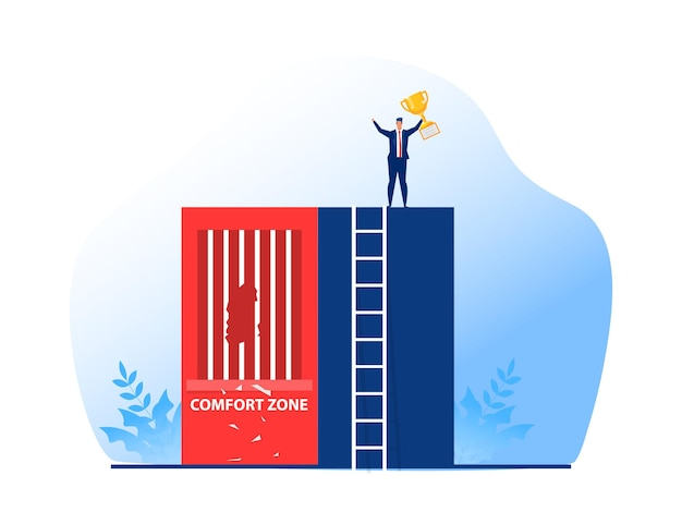 Sukces biznesmena od wyjścia ze strefy komfortu do nagrody