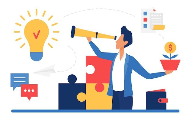 Sukces biznesowy nowy pomysł koncepcja biznesmen lider postać patrząc przez teleskop