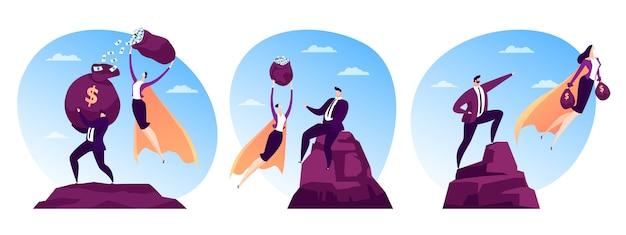 Sukces finansowy dla osoby mężczyzny, postać bohatera kobiety leci z ilustracją finansów. lider biznesowy superbohaterów dla profesjonalistów
