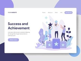 Sukces i ilustracja osiągnięcia dla strony internetowej