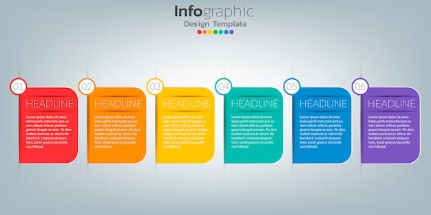 Sukces infographic szablon z tex pudełkiem i ikonami.