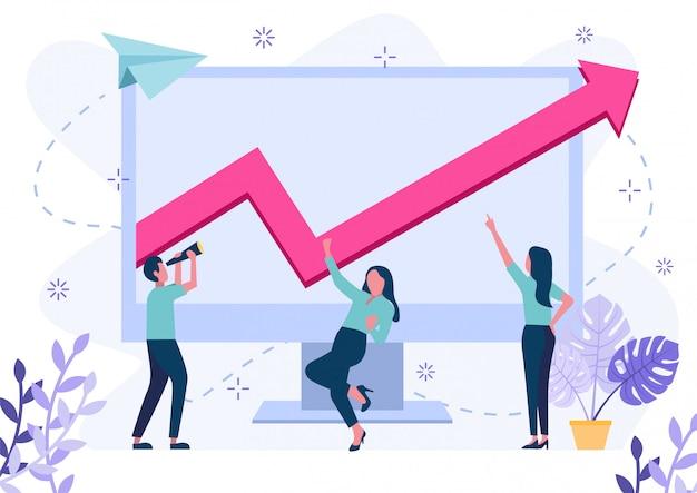 Sukces inwestora lub przedsiębiorcy. nowoczesna ilustracja.
