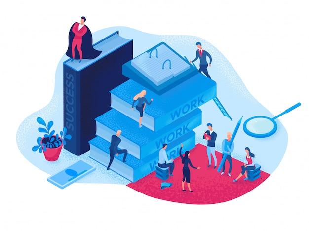 Sukces kariery izometryczny infographic koncepcja 3d