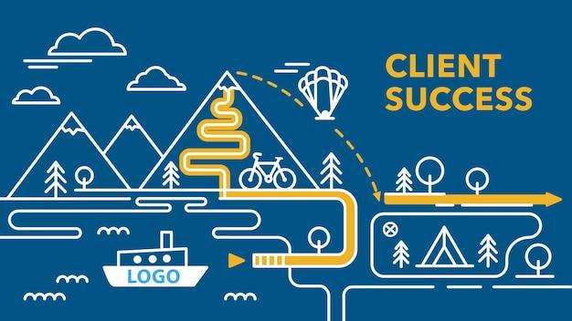Sukces klienta obsługa klienta w drodze do celu koncepcja trasy infografiki