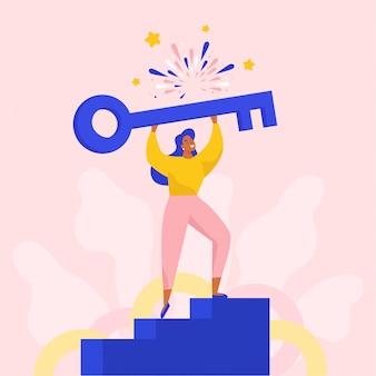 Sukces kobiety posiadającej duży klucz do otwierania nowych rozwiązań. ilustracja koncepcja płaski.