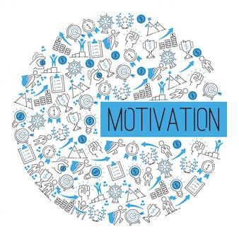 Sukces motywacji motywuje koncepcję. kreatywny pomysł inspiracja silną mocą. strategia wyznaczania metafory.