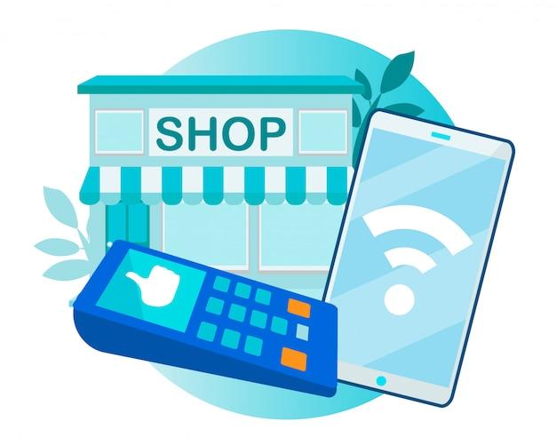 Sukces płatność zbliżeniowa przez telefon i terminal