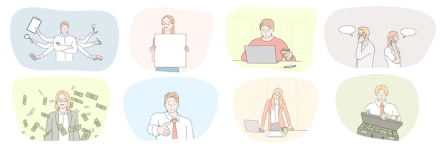Sukces spotkania biznesowego, powitanie, medytacja, epayment, komunikacja, zestaw koncepcji