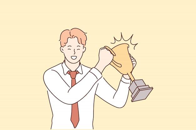 Sukces, świętowanie, wygrana, osiągnięcie celu, koncepcja biznesowa.