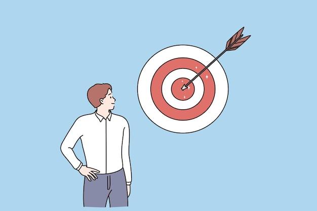 Sukces w biznesie osiągający cel przywództwa koncepcji