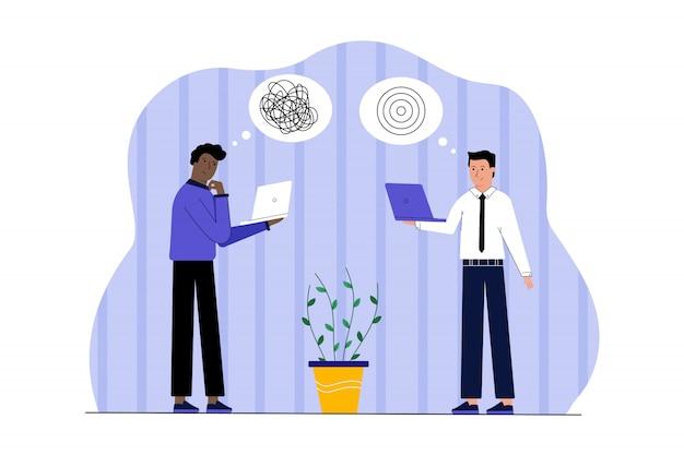 Sukces w biznesie pracy, myślenie pomysł pracy zespołowej, koncepcja konkurencji.