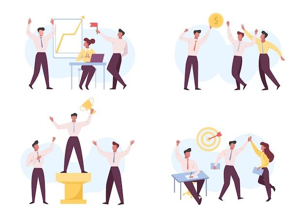 Sukces w biznesie, zestaw płaskich ilustracji przywództwa