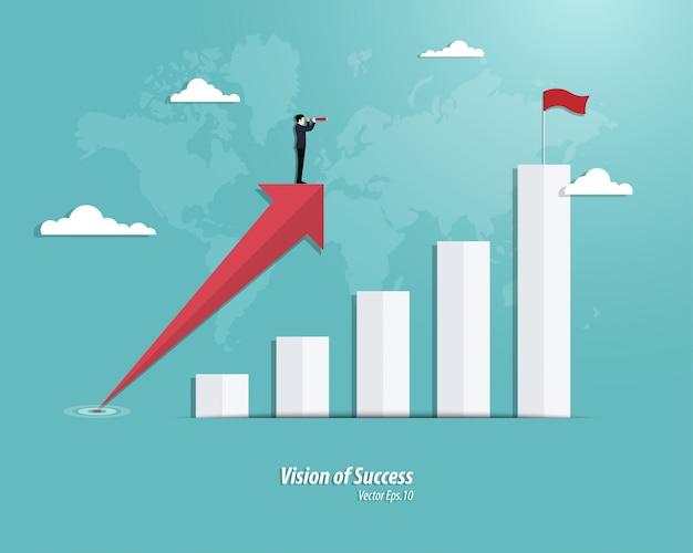 Sukces wykresu biznesowego