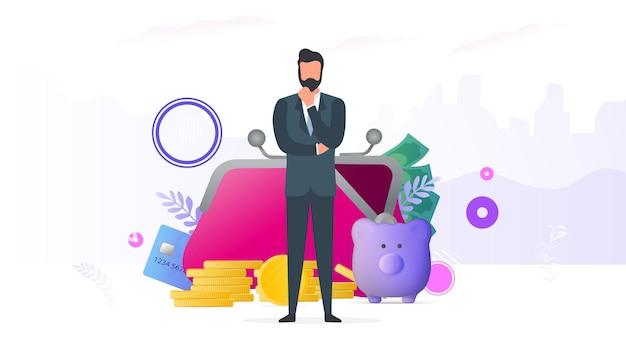 Sukcesy biznesmen. duży portfel, karta kredytowa, złote monety, dolary. pojęcie zysku, cashbacku lub bogactwa. baner na temat finansów. wektor.