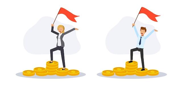 Sukcesy biznesmen i businesswoman stojących na stosie monet.przedsiębiorcy z flagą stojącą w gotówce złote monety. charakter ilustracja kreskówka płaski wektor.