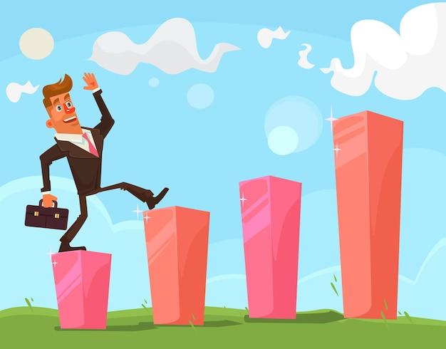 Sukcesy biznesmen ilustracja postaci