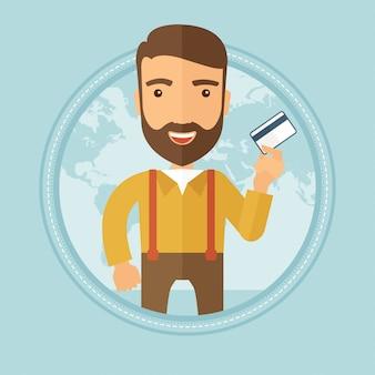 Sukcesy biznesmen posiadania karty kredytowej.