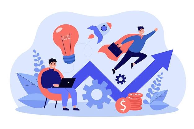 Sukcesy biznesmen pracujący z laptopem i latający jak płaska ilustracja supermana
