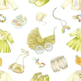 Sukienka, kurtka, buty, królik, kwiaty, torebka, czapka, smoczek. akwarela bezszwowe wzór, odzież, zabawki i akcesoria w stylu boho.