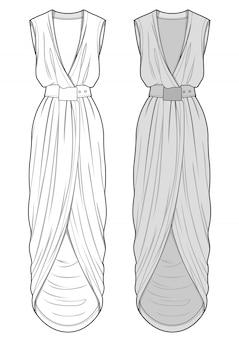 Sukienka moda płaski szkic szablon