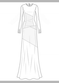 Sukienka moda rysunków technicznych wektorowy szablon
