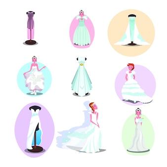Suknie ślubne i akcesoria w różnych stylach dla kobiet i manekinów.
