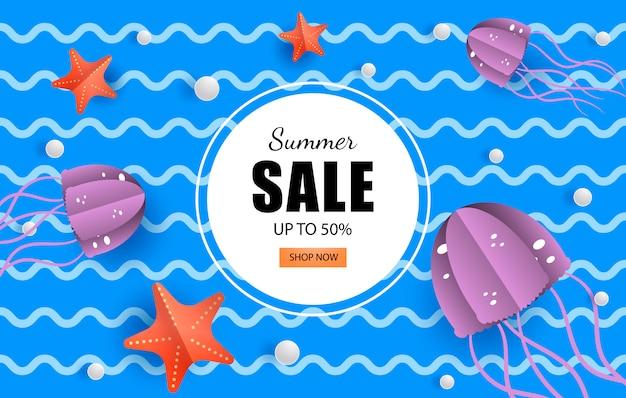 Summer banner morski sprzedaży