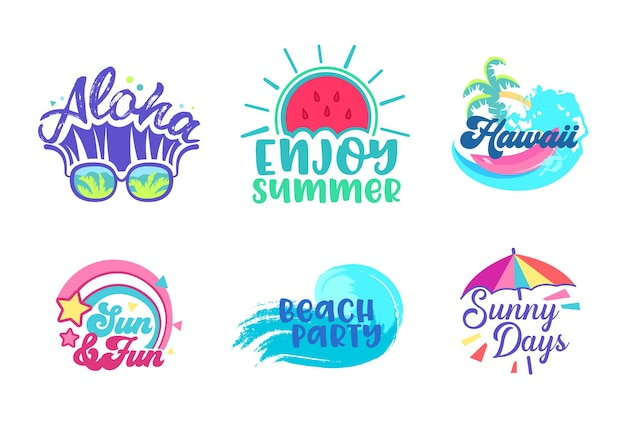 Summer beach holiday tropical poster design set. szablon transparent typografii paradise hawaje wakacje party. marketingowy znaczek reklamowy dla ilustracji wektorowych płaski kreskówka koktajl morze koncepcja