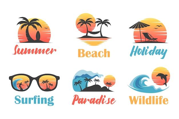 Summer Beach Ilustracja Koncepcja Logo Premium Wektorów