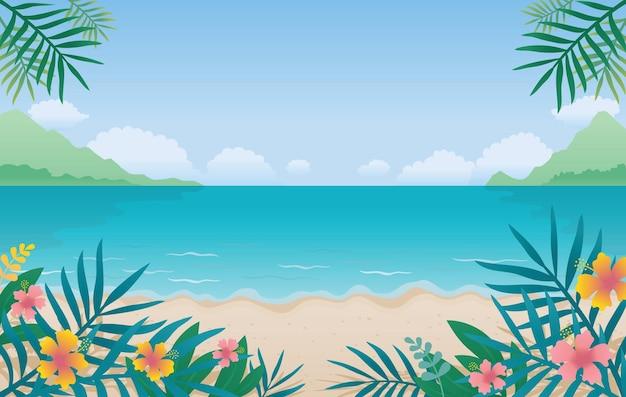 Summer beach, morze lub ocean w tle