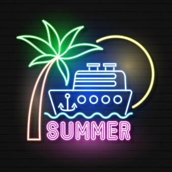 Summer beach neon sign.