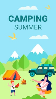 Summer camping vertical card for mobile interface