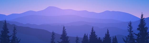 Summer landscape mountain forest sky woods