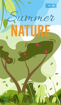 Summer nature mobile cover lub poster template.