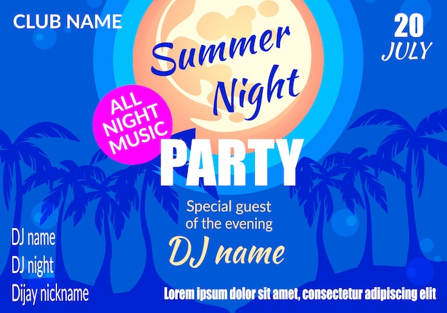Summer night party plakat poziomy lub szablon ulotki