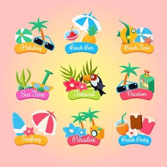 Summer party etykiety i elementy ustawione na białym tle