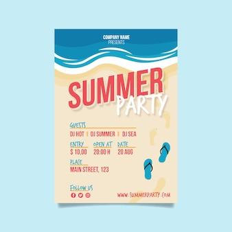 Summer party fkyer szablon w płaskiej konstrukcji