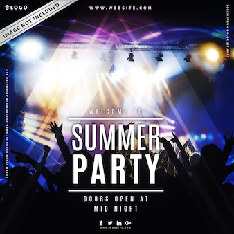 Summer party music poster template