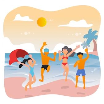 Summer party na plaży z przyjaciółmi