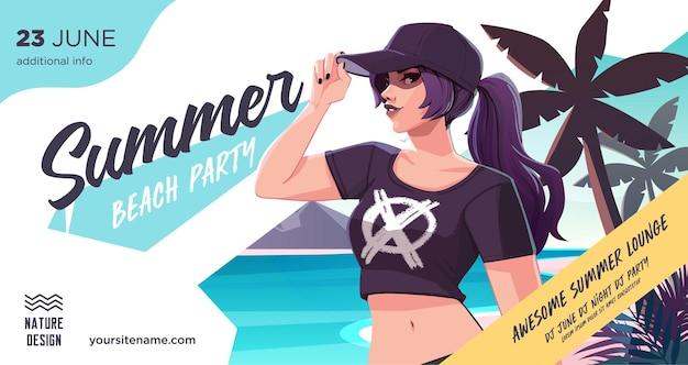 Summer party plakat lub szablon projektu ulotki z seksowną kobietą na zaproszeniu na imprezę na plaży