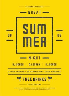 Summer party plakat lub ulotki retro typografia projekt szablon wektor wydarzenie.