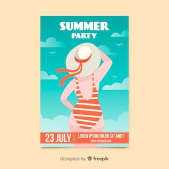 Summer party plakat płaski kształt