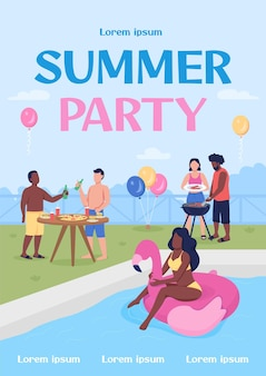 Summer party plakat płaski szablon wektor