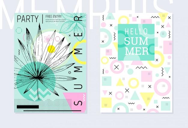 Summer party plakat wzór zestaw, geometryczny styl memphis. fajna modna ulotka z cytatem typu. t.