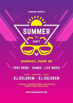 Summer party projekt plakatu lub ulotki klub nocny wydarzenie nowoczesnej typografii i streszczenie tło. ilustracja wektorowa szablon.