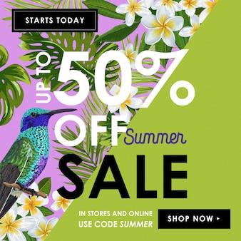 Summer sale banner z kwiatami i buczącymi ptakami