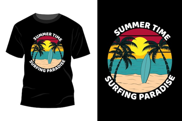 Summer time surfing raj t-shirt makieta design vintage retro