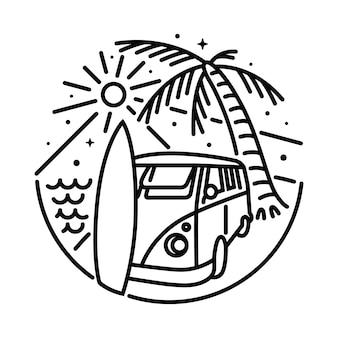 Summer van beach line graficzny ilustracja projekt koszulki sztuki wektorowej