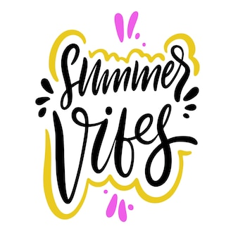 Summer vibes ręcznie rysowane wektor napis. odosobniony